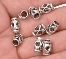 20pcs Tibetan silver charm hollow cylindri bead loose spacer beads 13x7mm A3081