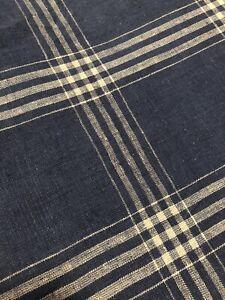 Ralph Lauren Americana Blue Plaid Bedskirt Linen Cotton Pleated Dust Ruffle Full