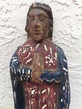 ESTATE 19th c.RELIGIOUS  HAND CARVED POLYCHROME PAINTED  FOLK ART SANTO 14""