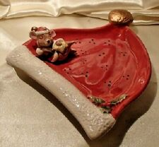 Fitz & Floyd Christmas Santa Hat Mouse Canape Cookie Plate Dish 1996 Omnibus