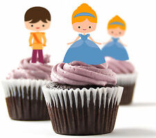 ✿ 24 Edible Rice Paper Cup Cake Toppings, Cake decs - Cinderella ✿