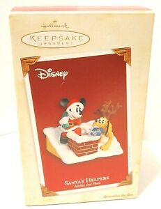 Hallmark Keepsake Santa's Helpers Mickey Pluto Ornament Disney 2005