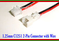 3.7V Battery Micro 1.25mm 2Pin Male Female Connector Socket 10cm lead wire x 10