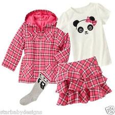 NWT Gymboree PANDA ACADEMY Outfit,Coat Jacket,Top,Shirt,Skort,Skirt,Socks,Size 4