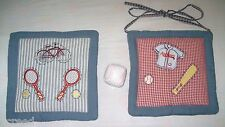 Set of 2 All Stars Denim Sports Padded Wall Hanging Decorations + Free Ball
