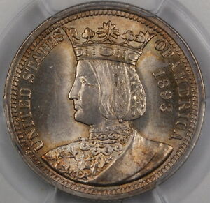 1893 Isabella Silver Quarter, PCGS MS-64 *Near Gem* Commemorative Coin