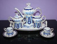 Vintage Miniature Tea Set ~ Ranger Gifts White China w Blue Pattern ~ 10 Pc Set