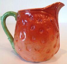 """Czech Pottery Figures STRAWBERRY Creamer Pitcher 1930's Art Deco 3.5"""" Fair Cond"""