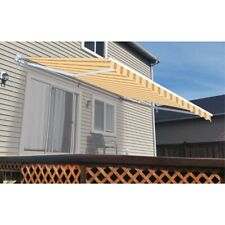 ALEKO Retractable Motorized Outdoor Patio Awning 10ft x 8ft Multistripe Yellow