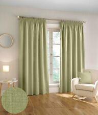 Harvard Woven Textured 3 Pass 100% Blackout Pencil Pleat Curtains Green