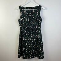NEW LOOK Womens Fit & Flare Dress UK 10 Small Black Floral Sleeveless