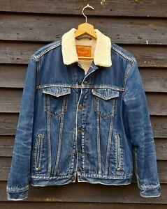 Fine  Mens  Levi Blue Denim Sherpa /Trucker Jacket Large