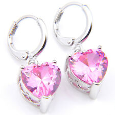 Wedding Jewelry Love Heart Natural Pink Fire Topaz Silver Dangle Hook Earrings