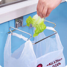 Stainless steel trash bag shelf storage  multifunctional kitchen hanging rack_vi