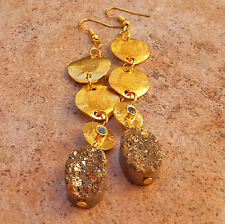 24K Gold Aqua Blue Topaz Bezel Druzy Quartz Gem Jewelry Hammered Disk Earrings