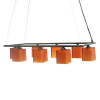 Oil Rubbed Bronze And Amber Glass 8 Light Chandelier