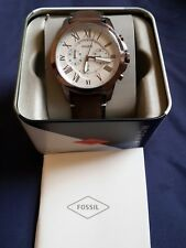 New Fossil Watch FS5344 Grant Chronograph Brown Pure Leather Watch 5 ATM RRP149