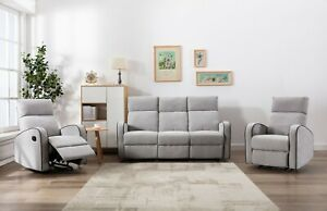 Athon Furniture Fabric Recliner Sofa 1, 2 and 3 seater Reclining Settee Set