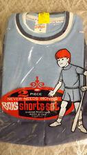 Vtg 60's Boy's Shirt/Shorts 2 pc Play Set NOS sz 8 Baby Blue/Navy Sportswear USA