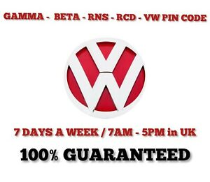 VW Radio Decode Unlock | RCD 200  210  300 310 - GAMMA - BETA - RNS - PIN CODE