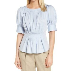 Lewit Blue Pleated Puff-Sleeve Peplum Blouse Size XSmall  MSRP: $249