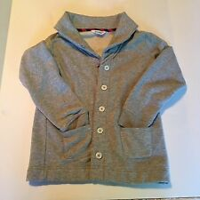 Lands' End Girls Jacket Size 7-8 Button Down Collar Gray Front Pockets