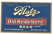 Lighter blue 4% Old Heidelberg Beer Label, Irtp, Blatz Brewing Co, Milwaukee, Wi