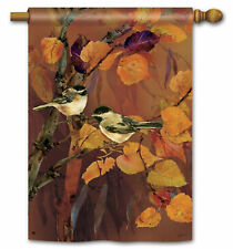 """AUTUMN CHICKADEES PERCHED PAIR LARGE GARDEN BANNER FLAG 28""""x40"""" FALL HOME DECOR"""