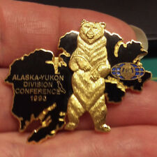 Kiwanis Pin - Alaska Yukon Division Conference 1993 - black and gold with bear
