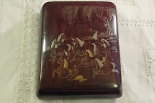 A Fine Antique Chinese Gold & Silver Inlaid * Eight Horses * Design Lidded Box