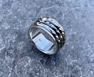 Solid 925 Sterling Silver Mens Spinner Stud Ring Band Celtic 11mm Size V 1/2
