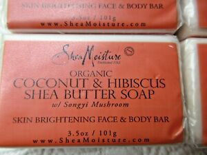 SHEA MOISTURE ORGANIC COCONUT & HIBISCUS SHEA BUTTER SOAP SET OF 4 3.5 OZ EACH