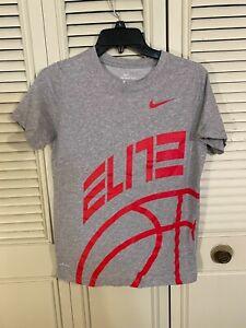 Nike Tee Shirt Youth Large Gray/Red Elite Basketball Dri-Fit Boys