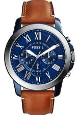 Fossil Watch * FS5151 Grant Chrono Blue & Brown Leather Men Ivanandsophia