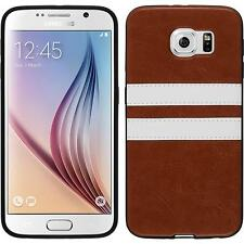 Silicone Case for Samsung Galaxy S6 Stripes brown + protective foils