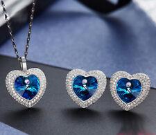 Schmuckset Herz Anhänger Collier mit SWAROVSKI Kristallen 925 Sterling Silber