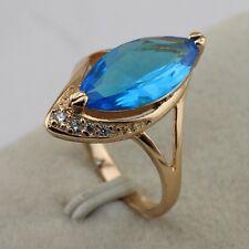 Size 6.5~8.5 Crazy Hot Fashion Jewelry Sky Blue Topaz Gold Filled Ring rj1588