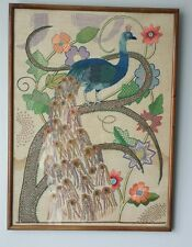 "Vintage Embroidered ""PEACOCK"" Tapastry 1950's"
