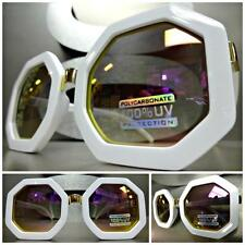 CLASSIC VINTAGE RETRO Style SUN GLASSES White Octagon Frame Purple Mirror Lens