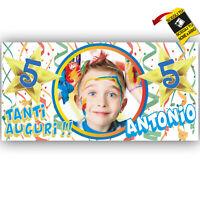 Striscione Banner COMPLEANNO PERSONALIZZATO foto nome Feste Compleanno Eventi