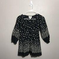 Ann Taylor Loft Womens Top Size 4 Polka Dot Black White Keyhole Blouse Shirt