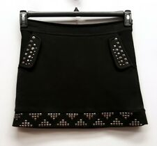 THE CUE CHER QU Size S Black Studded Grommet A-Line Above Knee Mini Skirt