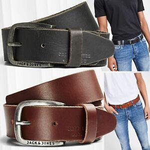 JACK & JONES Men Belt JACPAUL Belt Genuine Leather Belt Logo Roller Buckle