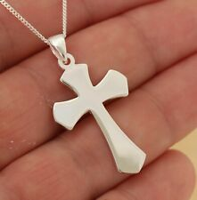 Solid 925 Sterling Silver Plain Cross Crucifix Pendant 33 mm x 21 mm Jewellery