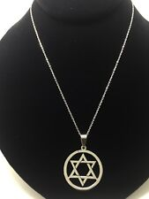 """Beautiful Star Of David Stainless Steel Pendant With 16"""" Necklace"""