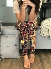 Buttery SOFT Gorgeous Paisley Floral Leggings One Size S M L Yellow Flowers OS