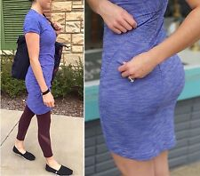 Lululemon & Go Where Dress Purple Blue Tweed Short Sleeve Dress 6 S M