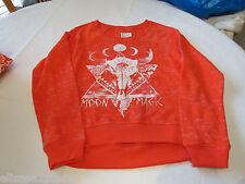 Billabong Juniors Womens Orangy Red S Long Sleeve Fleece Shirt Surf Skate *