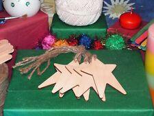 PRIMITIVA Forma di Stella ETICHETTE Craft in Bianco 10.2x6.7cm legno betulla decorazione di Natale