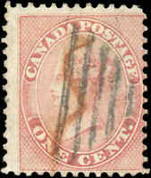 1859 Used Canada 1c VG-F Scott #14 First Cents Stamp